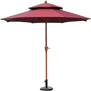 Sombrillas Parasol Jardin 270 cm/Ø 9 Pies Al Aire Libre Patio Grano de Madera, Doble Superior Jardín con Manivela para Patio Trasero, Piscina de Playa (Color : Wine Red)