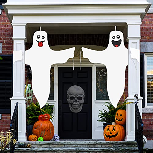 Aitok Halloween Ghost Hanging Decoration, 2 Pieces 47 Inch Ghost Windsock, White Smiling Friendly Ghost for Outdoor Yard Decoration