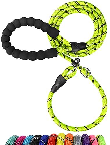 TagME Retrieverleine mit Zugstopp,Reflektierende Seilleine 185 cm Moxonleine ,Weicher gepolsterter Griff,12mm für Große Hunde,Grün