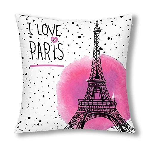 N\A Vintage Paris Torre Eiffel en el Fondo Grunge decoración cojín Funda de Almohada, Protector de Funda de Almohada Cuadrado con Cremallera