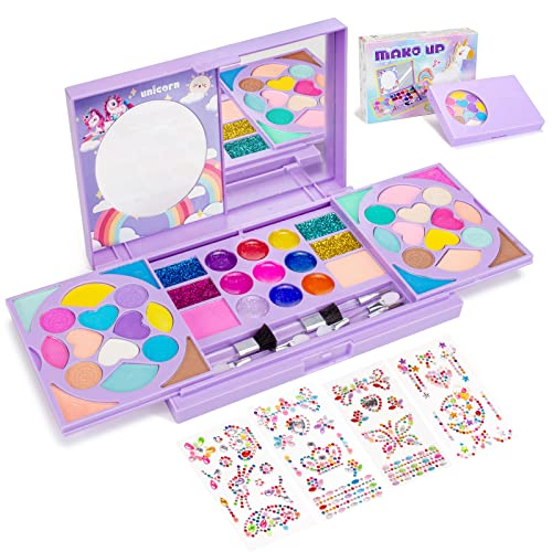 Tomons Kids Washable Makeup Kit, Fold Out Makeup Palette with Mirror, Make Up Toy Gifts for Girls - Safety Tested- Non Toxic