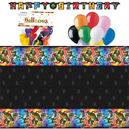 Rise of The Teenage Mutant Ninja Turtles Themed Party Decorations – Includes Party Banner,Tablecloth and Ten 12' Balloons.