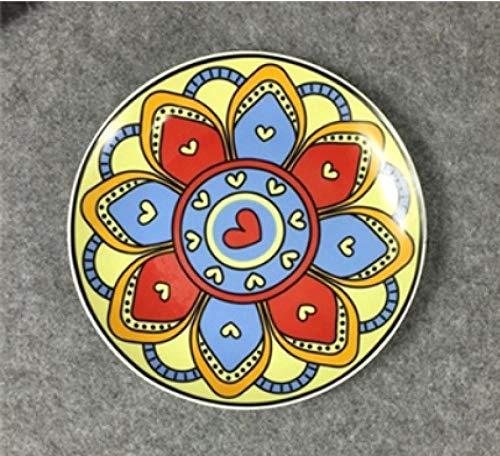 LMMJYF 8 Zoll exotische handbemalte marokkanische Italien Bohemian Style Teller Bunte Salatteller Speisen runde Dekoration Teller Geschenke-dreiundzwanzig