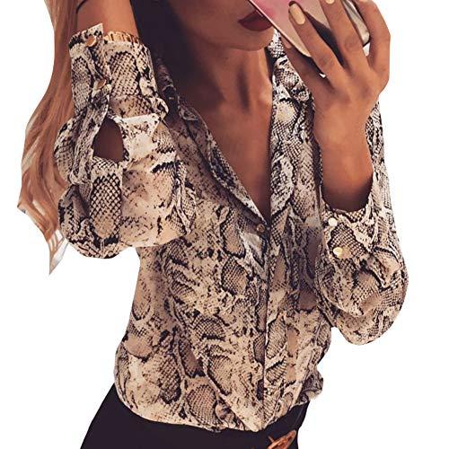 Blusa de Manga Larga Casual para Mujer Estampado Leopardo y Serpiente Camisa para Primavera de Moda...