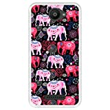 Hapdey silikon Hülle für [ Bq Aquaris U - U Lite ] Design [ Helles Muster von rosa & roten schönen Elefanten ] Transparenz Flexibles TPU
