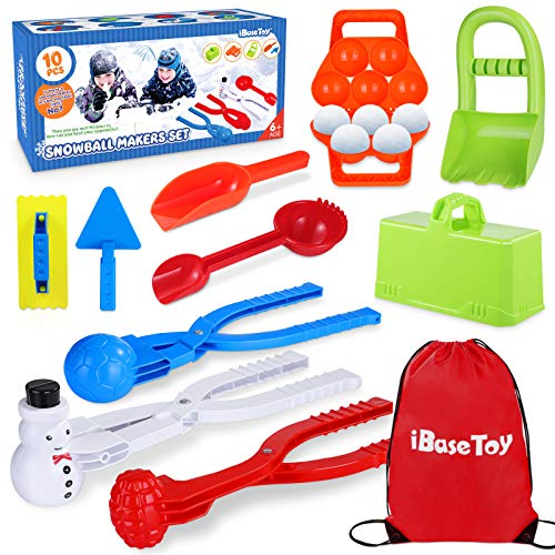 Snowball Maker Tool Toys, Durable Snow Toys & Sand Mold Fun Winter Outdoor Snow Toys - Snow Brick Maker, Snowman & Grenade Snowball Clip Snowball Game Toys for Kids Snowball Tool Kit with Carrying Bag
