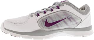 Nike Womens Flex Trainer 4 Low Top Lace Up, White/Silver/Bright Grape, Size 5.0