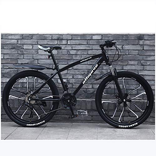 ZTMN Bicicleta de montaña de 21 velocidades Bicicleta de montaña de 26 Pulgadas Hombres y Mujeres Adultos, Freno de Disco Doble Bicicleta de Acero con Alto Contenido de Carbono
