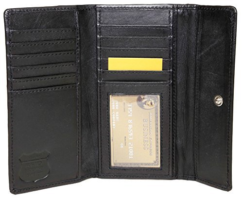 ASHLIN RFID BLOCKING Ladies ASHLIN Cashmere Ultra Soft leather   11 cards   1 ID pocket   Back Zippered Change Purse  Lambskin Womens Wallet Black [RFIDL5910-07-01]