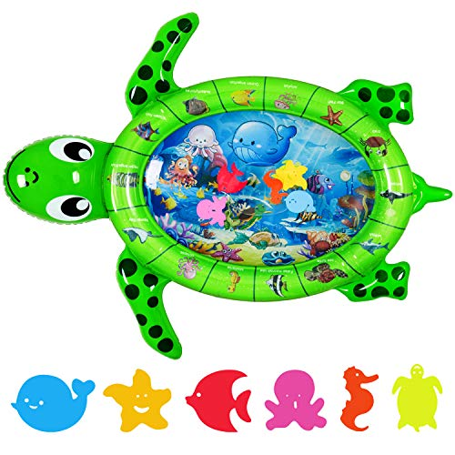 Tummy Time Baby Water Mat Newborn Sensory Play Items Infant Activity Center, Inflatable Toys for Toddler Boy and Girl, Portable Gifts for 3 6 9 12 Months, in Sea Turtle Shape