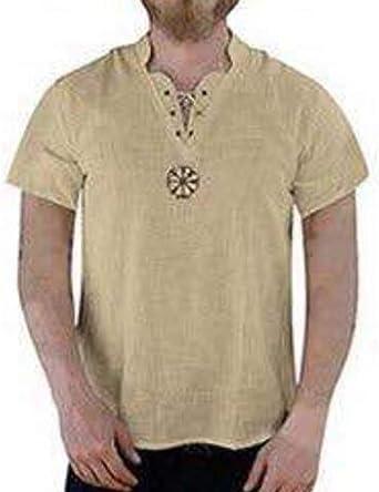 Camisa de túnica Medieval de Lino para Hombre Camisa con ...