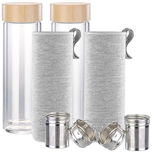 Cucina di Modena Wasser-Trinkflasche Glas: 2er-Set doppelwandige Glas-Trinkflaschen mit Neopren-Hülle & Tee-Sieb (Tee-Flasche Glas)