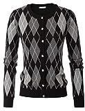 Womens Crewneck Sweater Vintage Long Sleeve Cardigans(XL,Black)