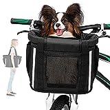 ANZOME Fahrradkorb Vorne für Hund Abnehmbar Fahrrad Korb für Damen Mountainbike Hundkorb mit Sicherheitsgurt