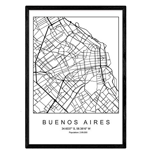 Nacnic Lámina Mapa de la Ciudad Buenos Aires Estilo nordico en Blanco y Negro. Poster tamaño A3 Enmarcado con Marco Negro Impreso Papel 250 gr. Cuadros, láminas y Posters para Salon y Dormitorio