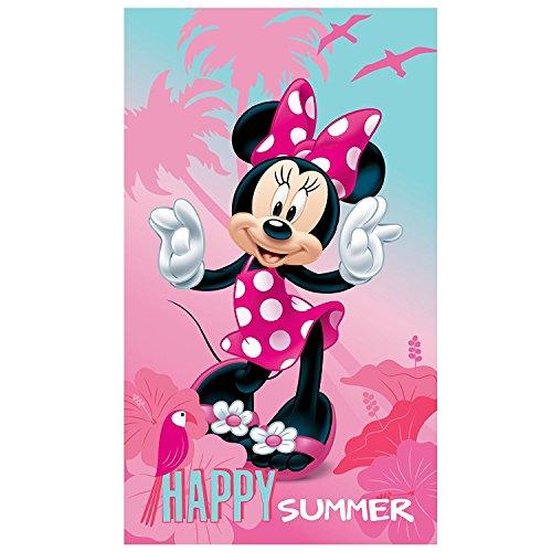 MINNIE Badetuch · Disney Minne Maus Strandtuch · Sommer, Blumen, Palmen & Vogel rosa, pink · 70x120 cm · 100% Baumwolle