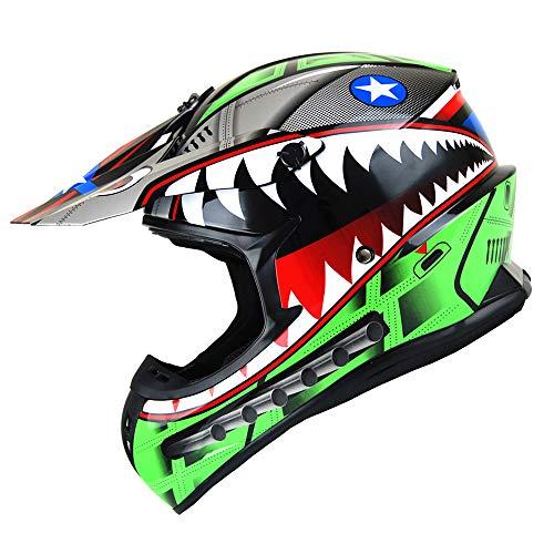 1Storm Adult Motocross Helmet BMX MX ATV Dirt Bike Downhill Mountain Bike Helmet Racing Style HKY_SC09S; Shark Green; Size (L 57-58 cm 22.4/22.8 Inch)