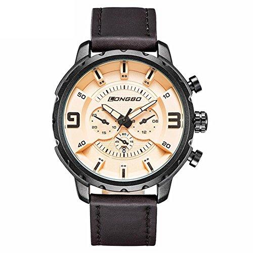 LONGBO sport orologio al quarzo vigilanza della cinghia orologio da polso impermeabile in pelle da uomo cinturino in pelle , 3