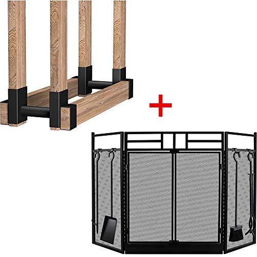 Amagabeli Fireplace Screen with Doors Bundle 2Pack Firewood Bracket Log Rack Outdoor Wood Storage