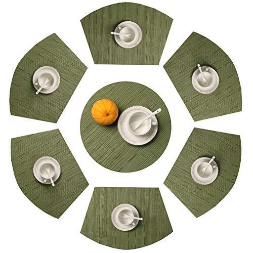 SHACOS Keilförmige Platzsets Set von 7,PVC Runde Tischsets Abwaschbar Hitzebeständig Verschleißfest,Platzdeckchen geeignet für Runde Tische,Hochzeit,Party,Grill usw (Grün,7)