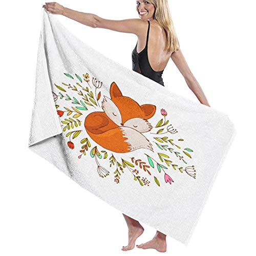 Super Soft Quality Bathroom Towel,Cute Baby Foxes Sleeping In A Floral Made Bed Circle Art,Natural touch, super absorbent bath towel