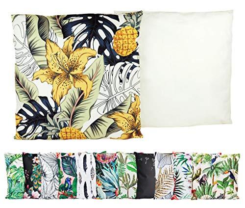 JACK Outdoor Lounge Kissen 45x45cm Motiv Dekokissen Wasserfest Sitzkissen Garten Stuhl, Farbe:Blütentraum Gold