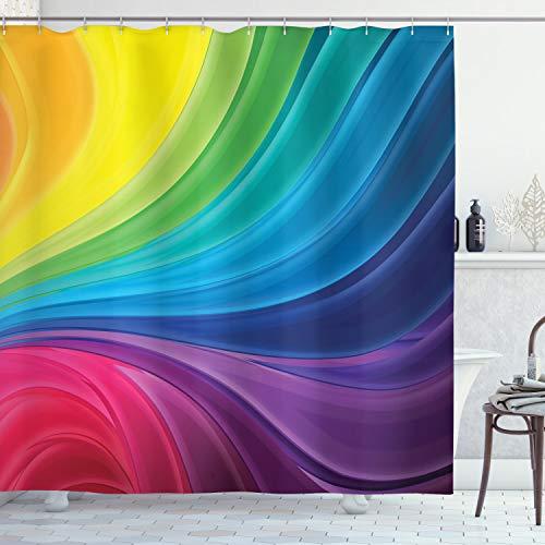 ABAKUHAUS Duschvorhang, Abstrakte Glatte Regenbogen Kurvige Linien Muster Spirale Gewellte Spray Digital Kunst Druck, Blickdicht aus Stoff mit 12 Ringen Waschbar Langhaltig Hochwertig, 175 X 200 cm