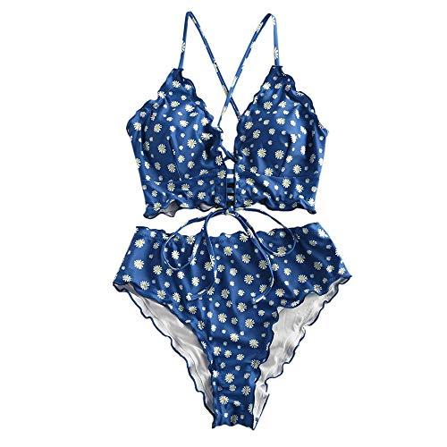 ZAFUL Damen Zweiteiliger Tankini, gepolsterter Bikini mit Blumenmuster Schnür-Tankini Oberteil hochtaillierte Shorts Badeanzug (Blumen-blau, L)