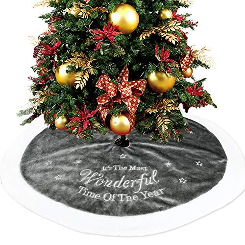 FullLove Weihnachtsbaumdecke aus Filz - Durchmesser 90cm / 120cm - Rund Grau und Weiß - Weihnachtsbaum Decke Christbaumdecke (90cm)