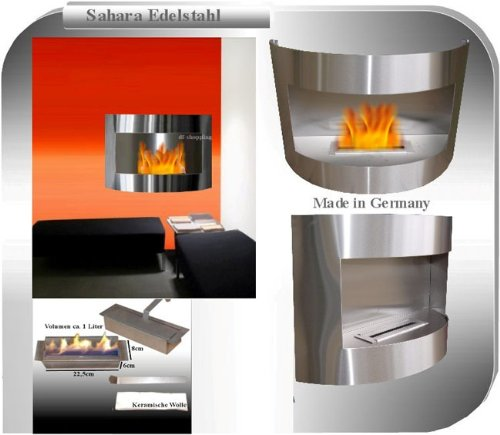 Read About Gel + Ethanol Fire-Places Ethanol Fireplace Model Sahara Stainless Steel