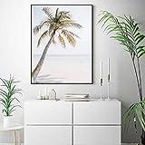Beach palm tree poster art lienzo impresión costera playa océano fotografía lienzo pintura mural dormitorio decoración tropical50x70 cm sin marco