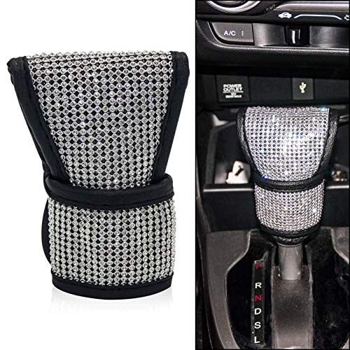Bling Car Gear Shift Knob Cover for Women/Girls/Lady,Bling Rhinestones Car Accessories Universal Fit for SUV Truck (1X Gear Shift Cover)