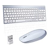 Wireless Keyboard Mouse, Sanhoton 2.4G Ultra Thin Portable Wireless Keyboard and Mouse Combo Compatible with Windows, Mac, Android Tablet (Silver+White)