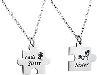 Huiuy Set of 2 Pieces Big Sis Lil Sis Necklaces Set Matching Jigsaw Puzzle Pendant Stainless Steel Gift for Sisters Friends
