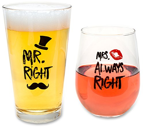 Funny Wedding Gifts - Mr. Right and Mrs. Always Right Novelty Wine Glass and Beer Glass Combo - Engagement Gift for Couples