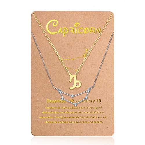 2 Collares de 12 Constelaciones Collar con Colgante de Zodiaco Constelación de Oro, Cadena de Señal de Horóscopo Astrológico de Plata con Tarjeta de Constelación para Mujer (Capricornio)