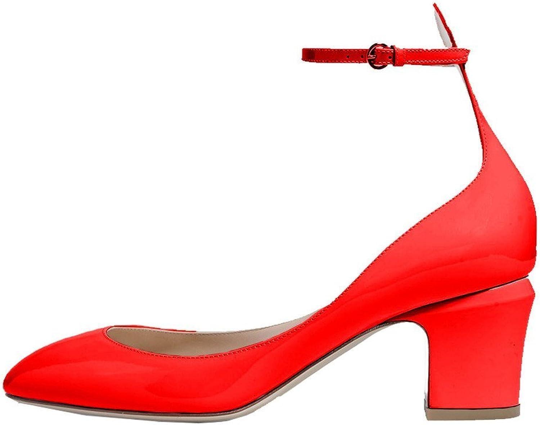 FSJ kvinnor Retro Ankle Strap Mid klackar Dress Pump Pump Pump Almond Toe Patent läder skor Storlek 7 röd Patent  billigt försäljning online