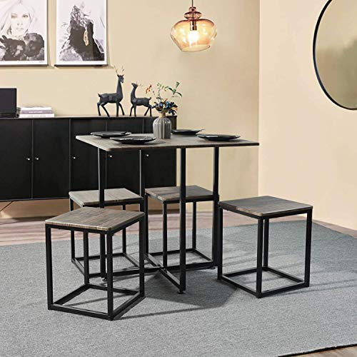 Queen Anne Casa 5 Pieces Space Saving Dining Set MDF Dining Table and 4 Stools Set, Scandinavian Style Kitchen Room Dining Room Set for 4 Persons with Black Metal Frame, Walnut