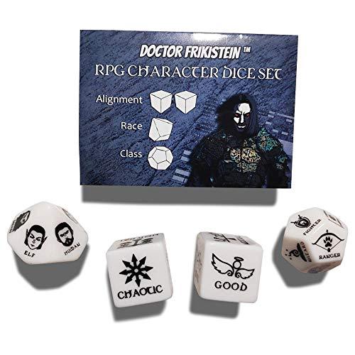 RPG Character Dice Set | 4 Dados de 25mm para creación de Personajes | Compatible con D&D, Pathfinder y Juegos de rol de fantasía