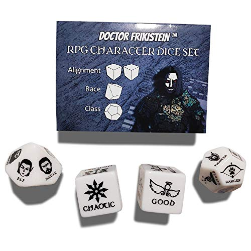 RPG Character Dice Set   4 Dados de 25mm para creación de Personajes   Compatible con D&D, Pathfinder y Juegos de rol de fantasía