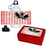Eurofoto Brotdose + Trinkflasche Set mit Namen Tilda und Zauber-Motiv mit Sternen für Mädchen | Aluminium-Trinkflasche | Lunchbox | Vesper-Box