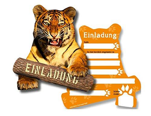 DH-Konzept 6 Einladungskarten * Tiger * für Kindergeburtstag oder Zoo-Gebeburtstag Kinder Geburtstag Party Einladung Einladungen Karte Mottoparty Zoo Dschungel Wilde Tiere