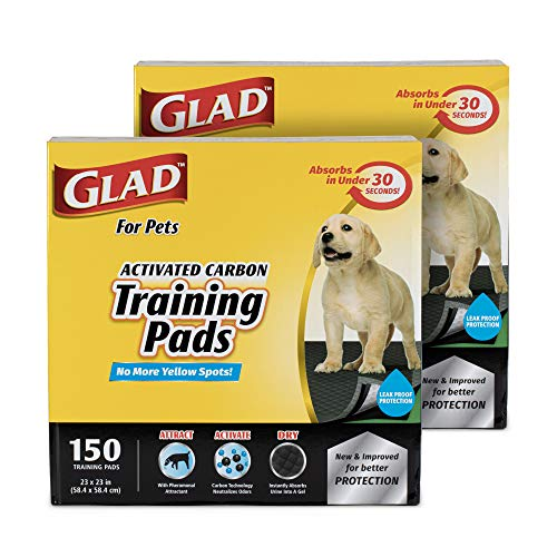 Glad for Pets Black Charcoal Puppy Pads, 150 Count - 2 Pack | Puppy Potty Training Pads That Absorb & NEUTRALIZE Urine Instantly | New & Improved Quality Puppy Pee Pads
