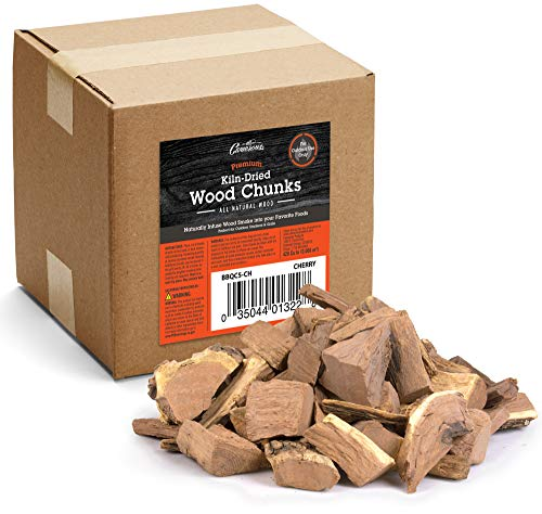 :Smoking Wood Chunks (Cherry) ~ 5 Pounds, 420 cu. in. Kiln Dried BBQ Large Cut Chips- All Natural Barbecue Smoker Chunks for Smoking Meat