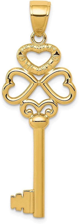 GelbGold 14 K mit Dreifach-Herz Schlüssel Schlüssel Schlüssel Key to my heart Anhänger B071Y27QP7 67a56b