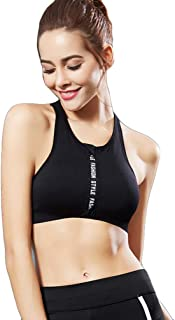 Runyue Sports Bra Zip Front Comfortable Removable Padded Wireless Plus Size Bras for Fitness,Yoga