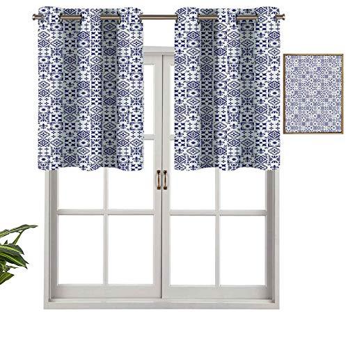 Hiiiman Cortinas cortas opacas con ojales, patrón geométrico portugués, azulejo cuadrado, diseño abstracto, juego de 1, 106,7 x 45,7 cm, cenefas pequeñas de media ventana para cocina