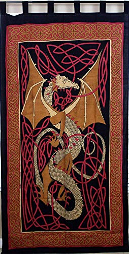Celtic Dragon Tab Top Curtain-Drape-Door Panel-Red