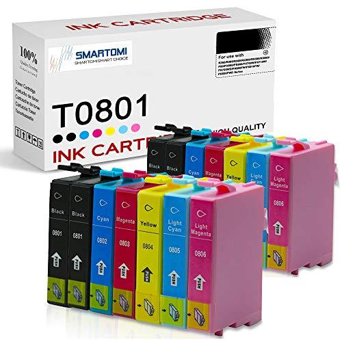 SMARTOMI Cartuchos de Tinta T0801 Compatibles con Epson T0807 para Stylus Photo R265 R285 R360 RX560 RX585 RX685 P50 PX650 PX660 PX700W PX710W PX720WD PX800FW PX810FW PX830FWD Serie 14PK