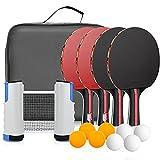 Sets de Ping Pong zerotop Raquetas de Tenis de Mesa, 4 Palas Ping Pong...